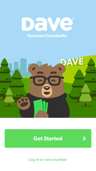 Login/registration page of Dave.com app featuring a bear wearing glasses holding cash notes