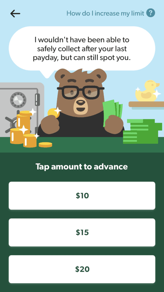 Bear wearing glasses with a pile of coins and notes on either hand on the loan application page of Dave.com app