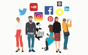 Illustration of different individuals alongside different social media icons