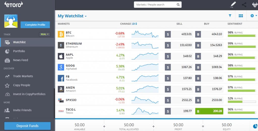 eToro Review - eToro User dashboard | eToro trading page