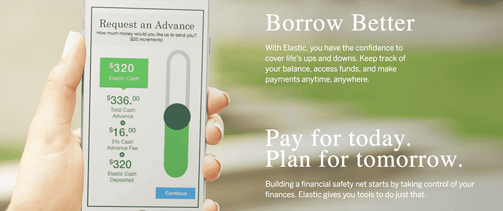 Elastic app home page with the request advance call to action displayed on a phone screen