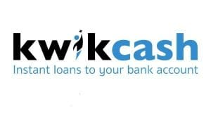 Kwikcash logo in black and blue with motto instant loans to your bank account