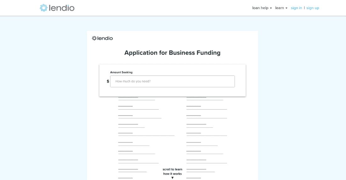 Screengrab of Lendio's business funding application form
