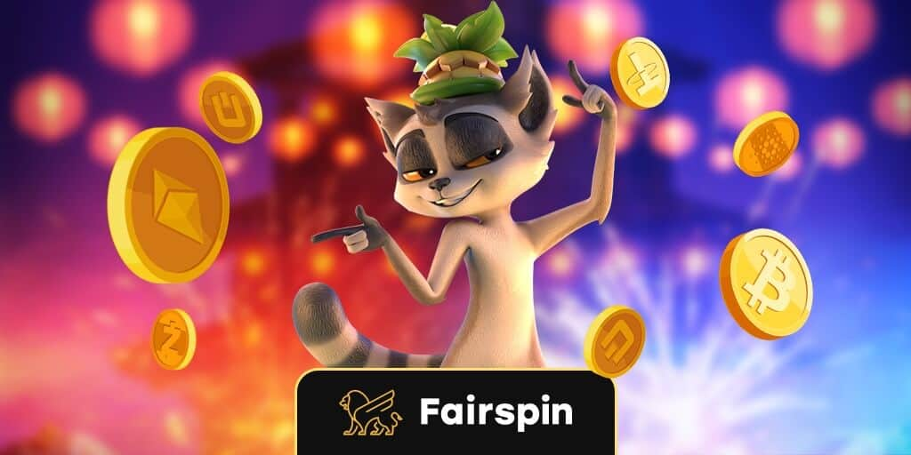 Fairspin Logo with a cartoon Lemur dancing amongst Bitcoins