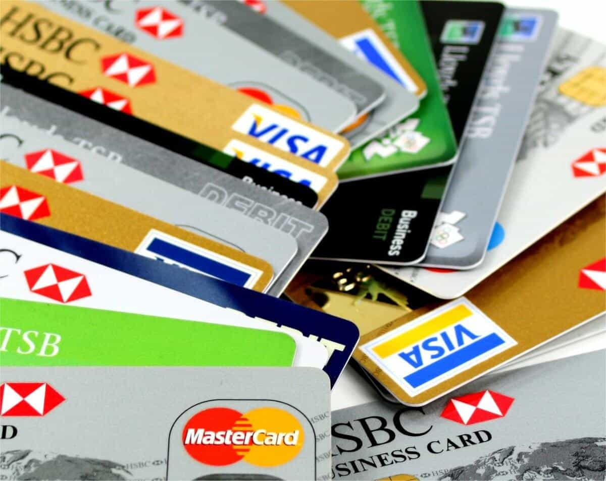 A stack of credit cards - representing FICO score calculation