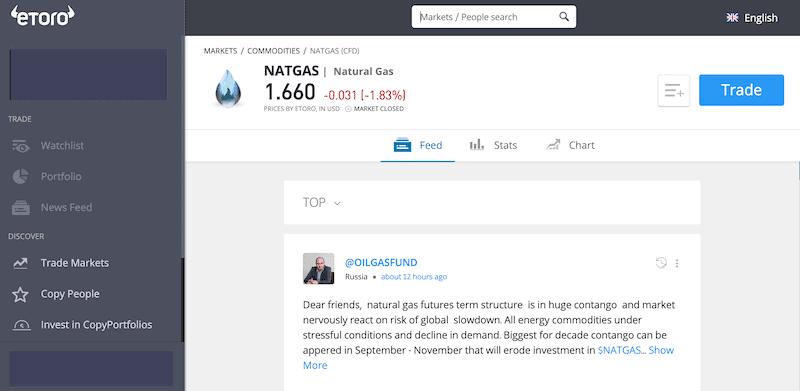Natural Gas eToro trade