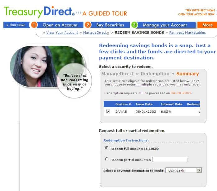 treasurydirect redeem savings bonds