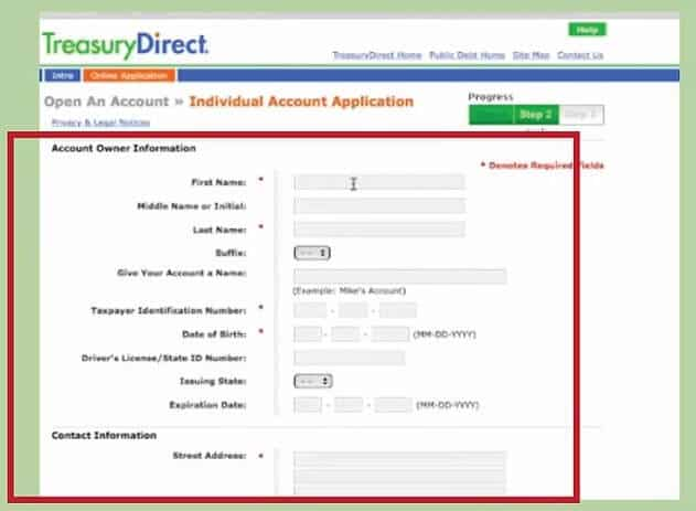 open an account on the TreasuryDirect website
