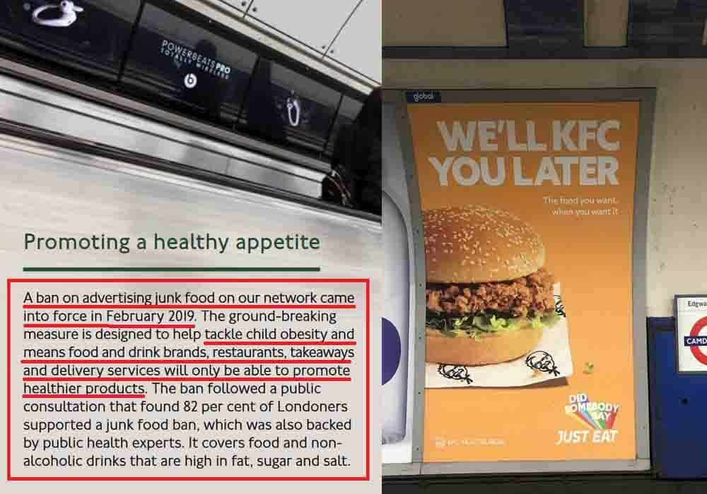 TFL Continues to Promote Junk Food Despite a Ban on Advertising
