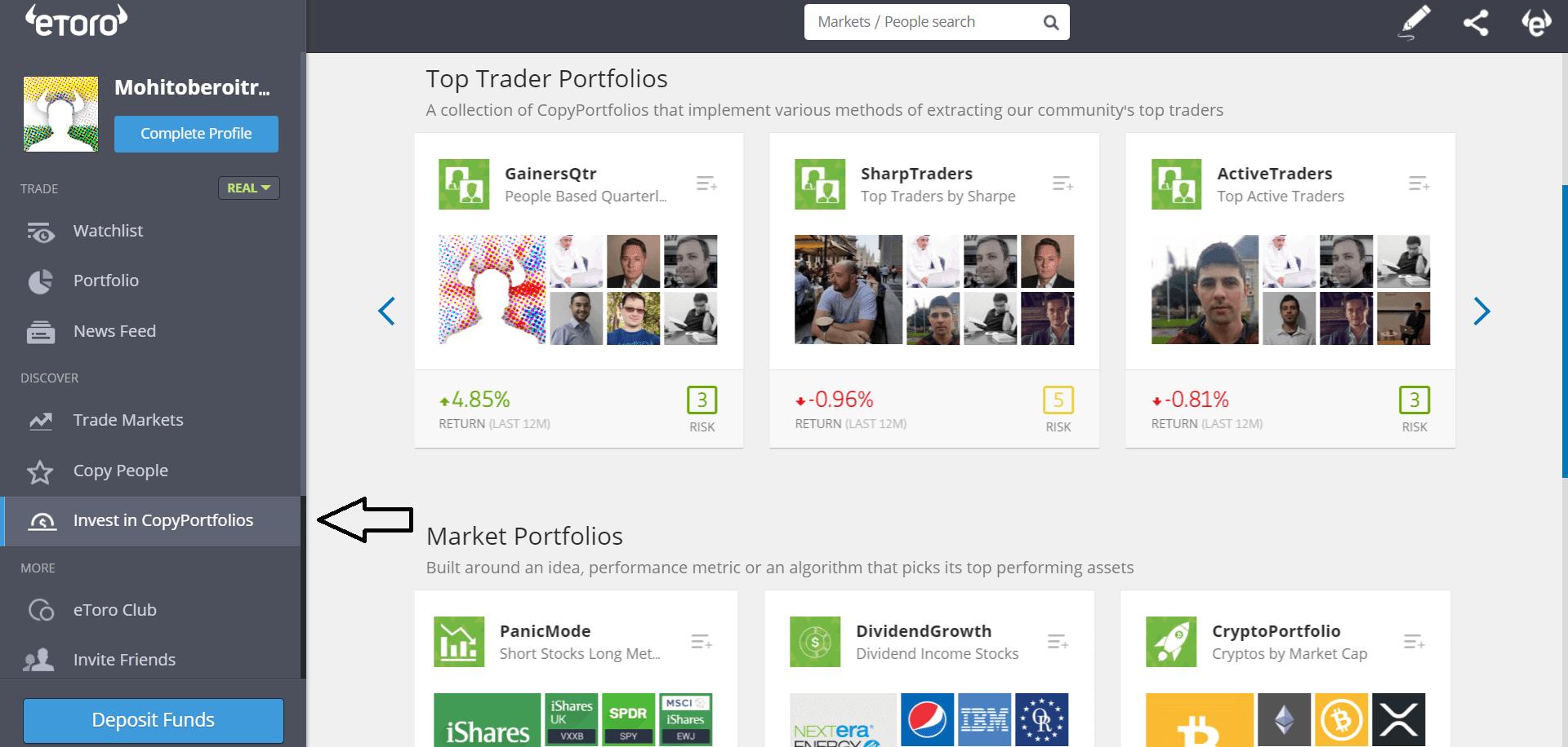 eToro Interface - home page