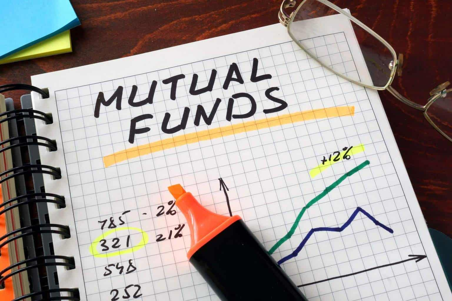 "A marker pen on top of an open notebook with the name ""mutual funds"" written"