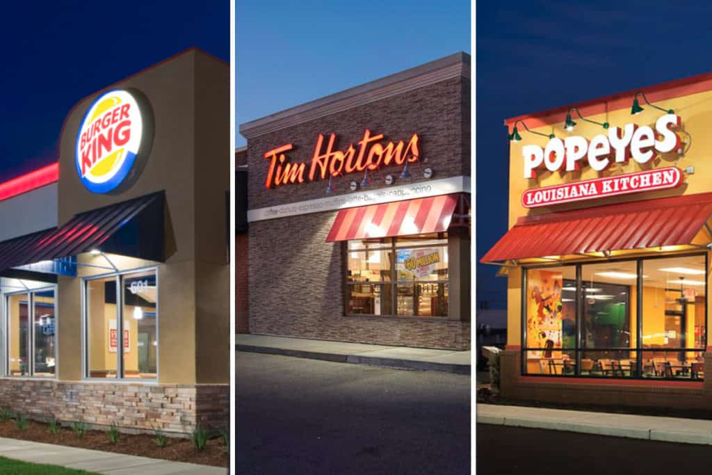 Burger King, Popey's, Tim Horton restaurants