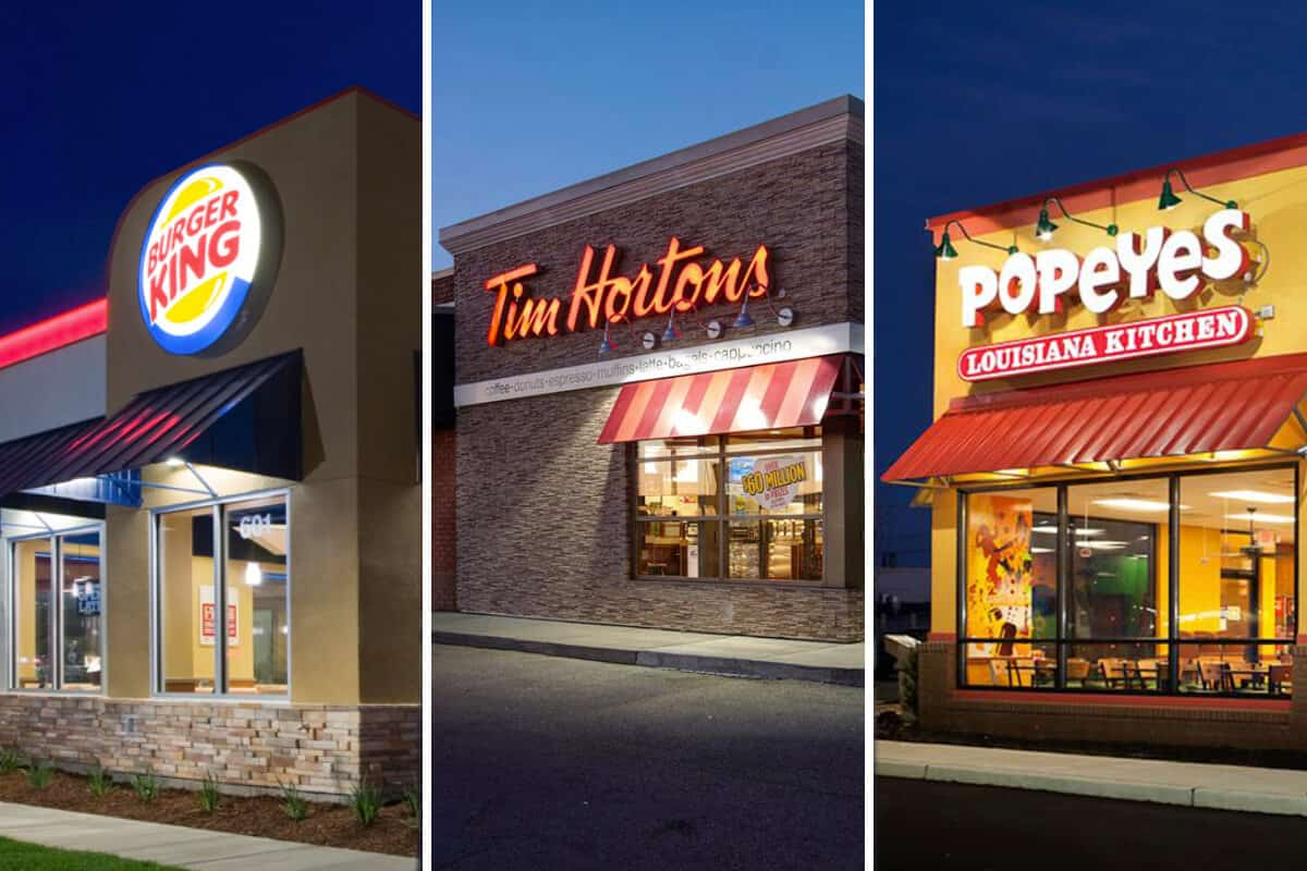 Burger King, Popey's, Tim Horton restaurants