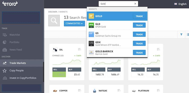 Gold eToro online trading