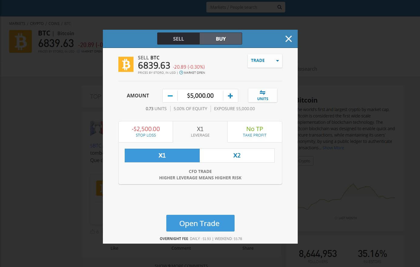 eToro (Best Bitcoin broker) Short Bitcoin