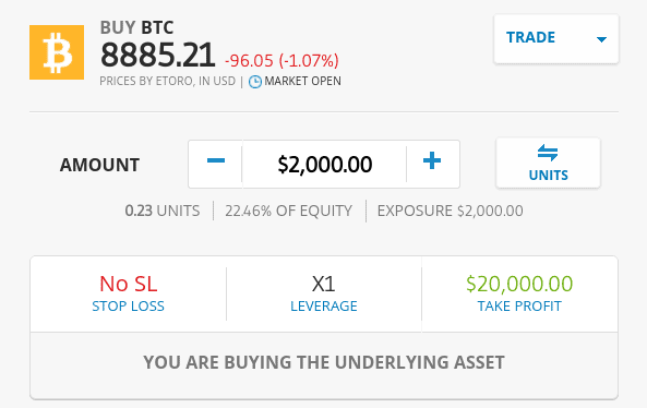 Cryptocurrency trading at eToro