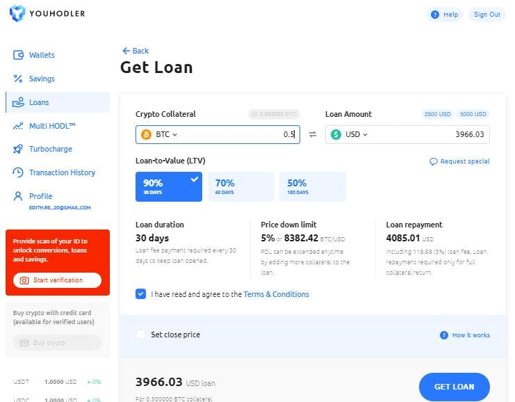 YouHodler loan application page | Learnbonds