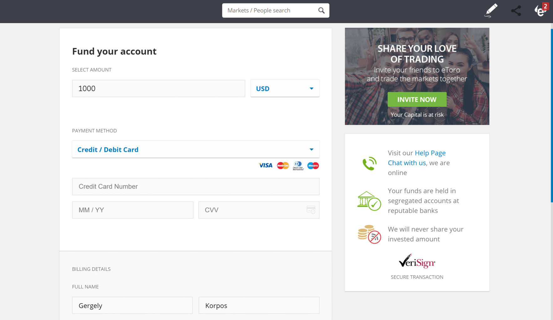 Deposit funds at eToro