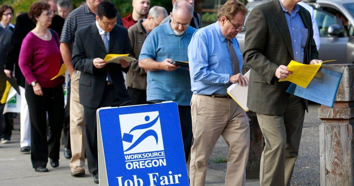 People in line at job fair in Oregon