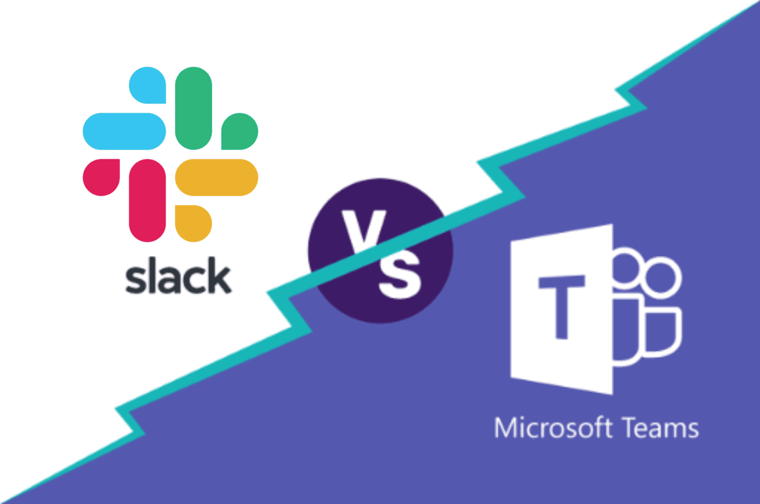 Slack vs Microsoft Teams logo
