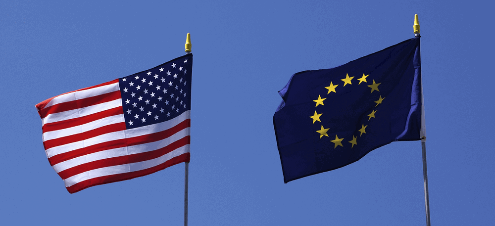EU and US flags in aircraft subsidy dispute
