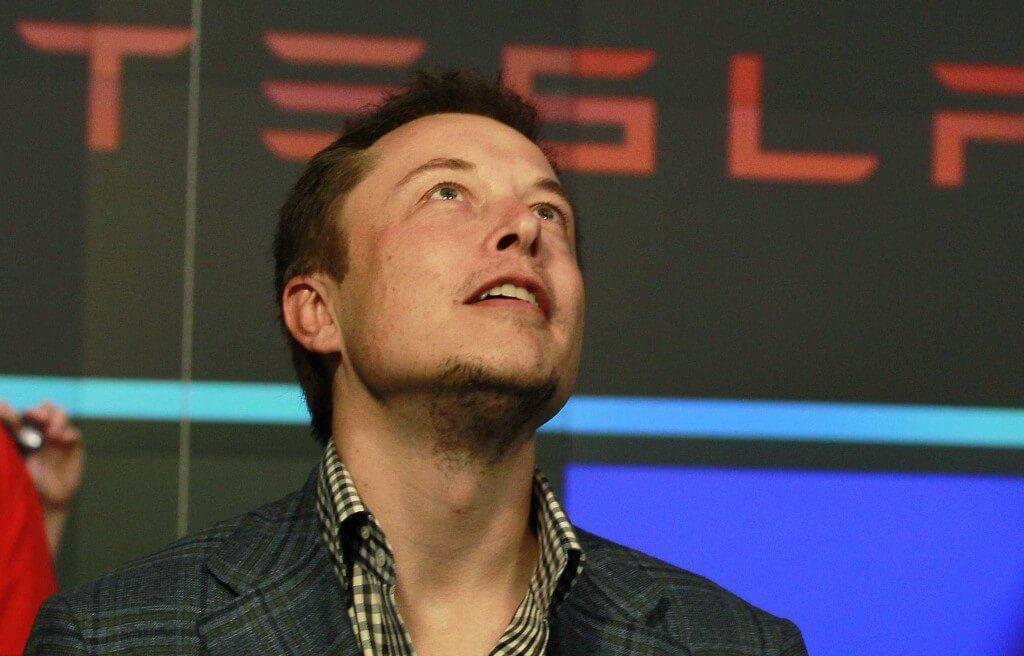 Elon musk Tesla CEO looks up