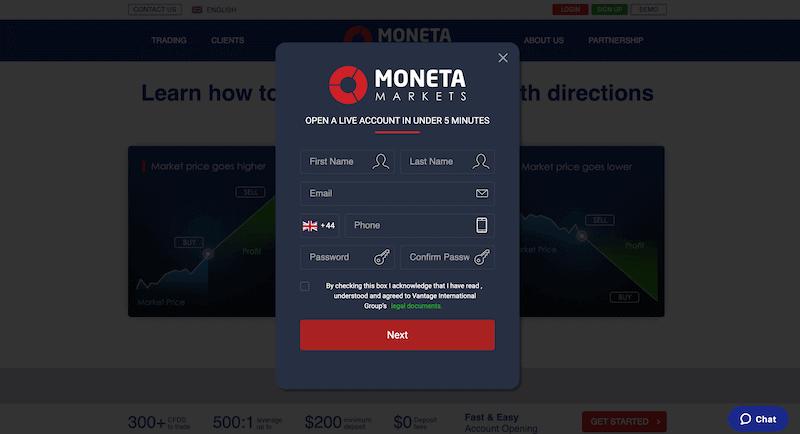 Moneta Markets Sign Up