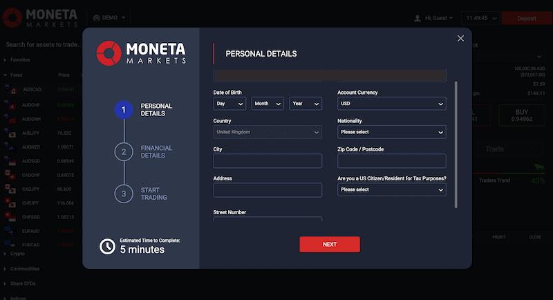 Moneta Markets Sign Up 2