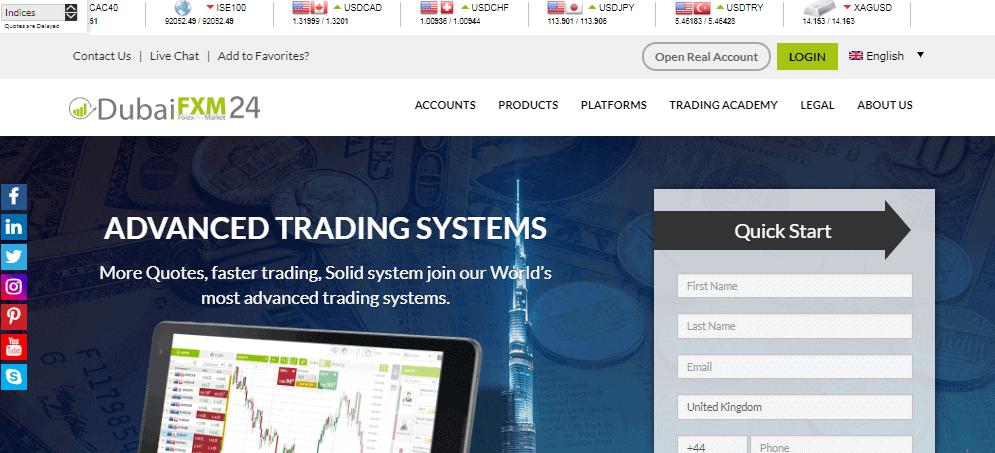 Dubai FXM Hauptnavigationsfeld
