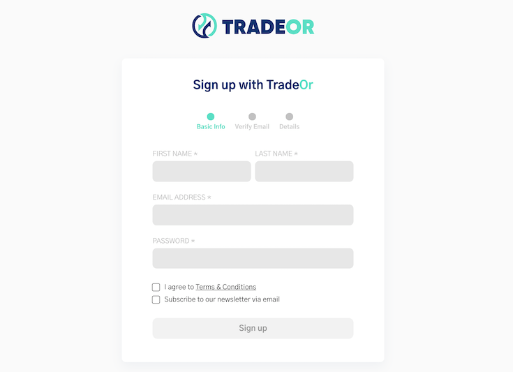 TradeOr Sign Up form