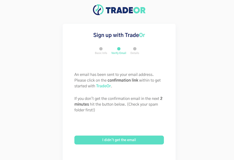 TradeOr email confirmation