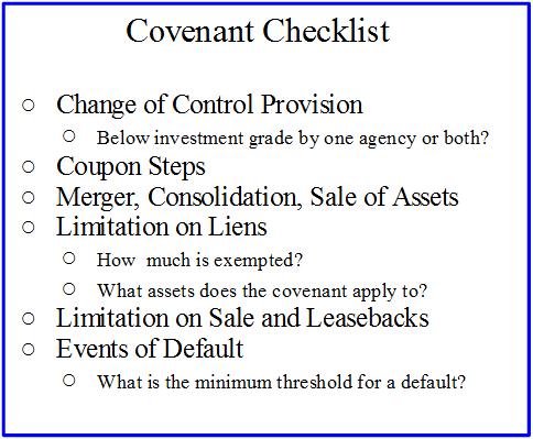 bond covenants checklist