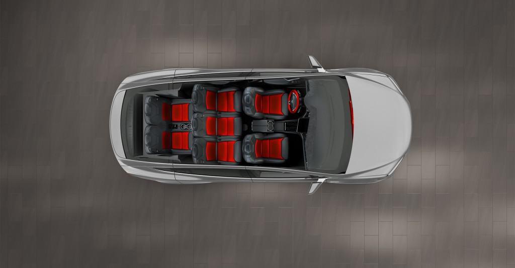 Tesla Model X Interior Overhead Design Studio