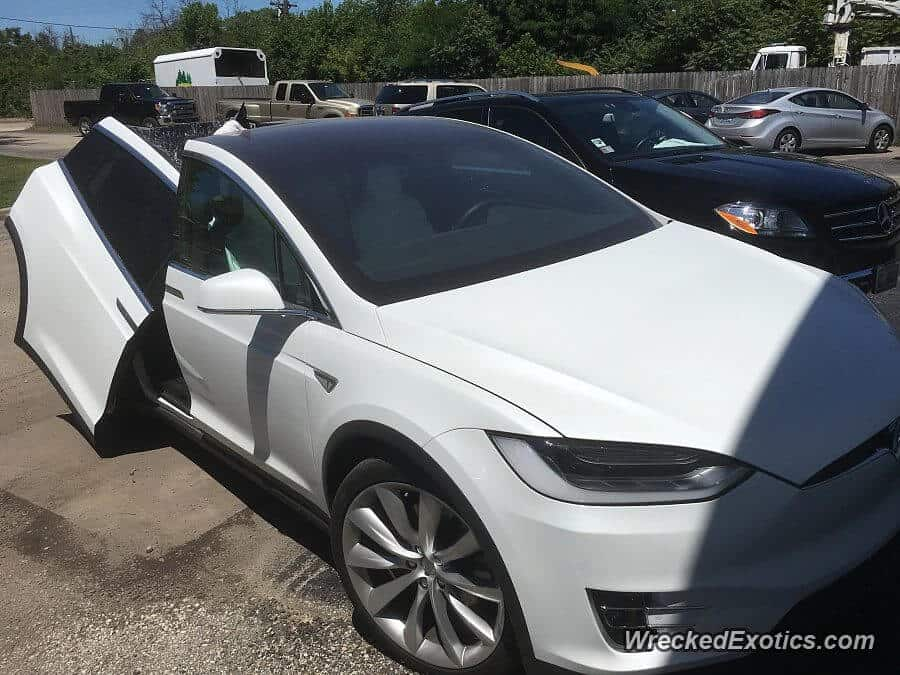 Model x with torn door