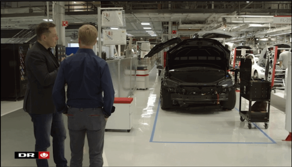 Tesla Motors Inc (NASDAQ:TSLA) Model X SUV on Assembly line