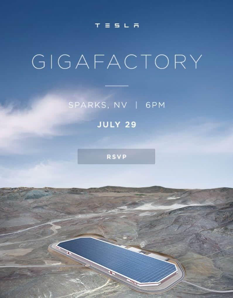 Tesla Gigafactory invitation RSVP