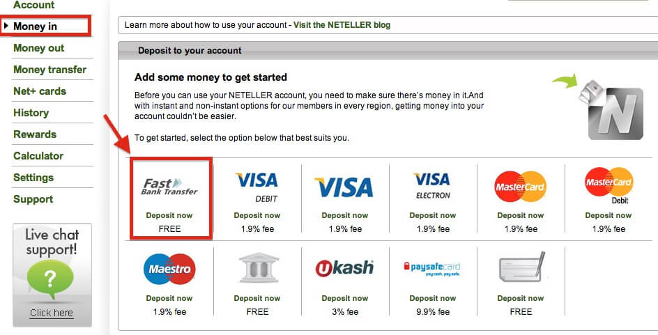 Step 2: Fund Your Neteller Account