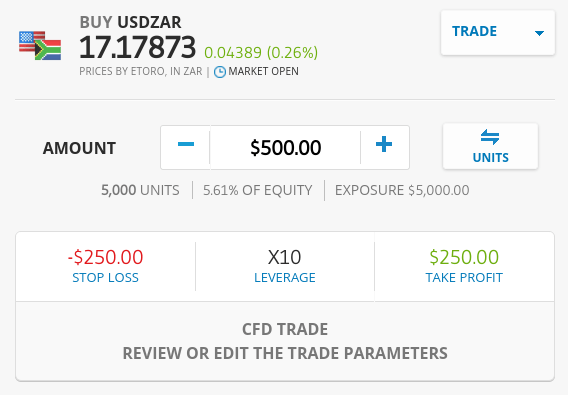 Forex trading on the eToro app